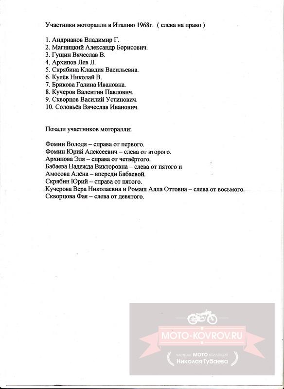 Список участников моторалли 1968г.
