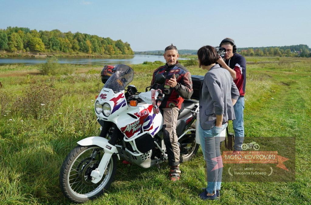 Съёмки на берегу Клязьмы
